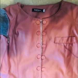 Pink vegan leather jacket
